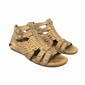 Bed Stu CLAIRE Distressed Leather Sandals 7 B